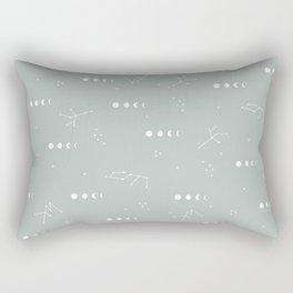 Moon phase boho zodiac sign moss mint green Rectangular Pillow