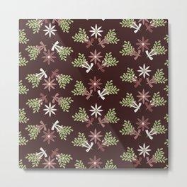 Vintage Christmas Floral Metal Print