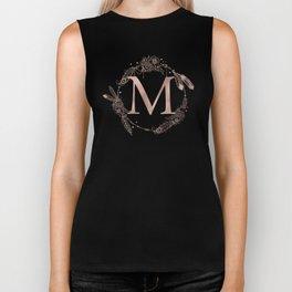 Letter M Rose Gold Pink Initial Monogram Biker Tank