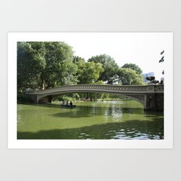 Bow Bridge And Rowboat NYC Art Print