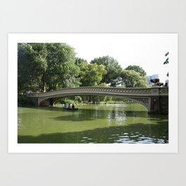 Bow Bridge And Rowboat NYC Art Print