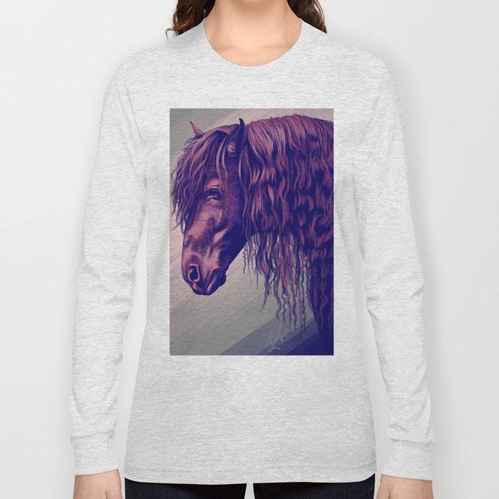 Purple horse portrait Long Sleeve T-shirt
