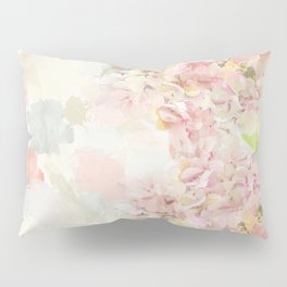 Pink Hydrangeas on a soft pastel abstract background Pillow Sham