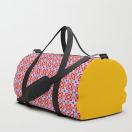 Pixelated Squares - Purple and red pattern Duffle Bag