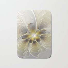 Gold And Silver, Abstract Flower Fractal Bath Mat
