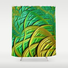 patterns green yellow string Shower Curtain