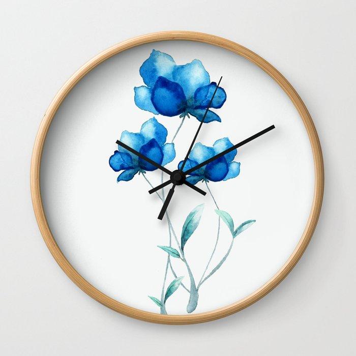 Blue Flowers 2 Wall Clock