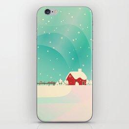 Peaceful Snowy Christmas (Teal) iPhone Skin