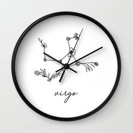 Virgo Floral Zodiac Constellation Wall Clock