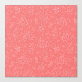 Coral white hand painted girly floral Canvas Print