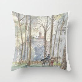 Park with figures on horseback, Jozef Israëls, 1834 - 1911 Throw Pillow