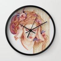 matty healy Wall Clocks featuring Sensory Overload by Jennifer Healy