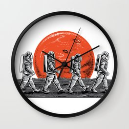 Astronauts in walking in space occupy mars t shirt Wall Clock
