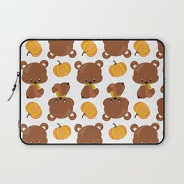 Pattern Of Cute Bears, Pumpkins, Fall Animals Laptop Sleeve