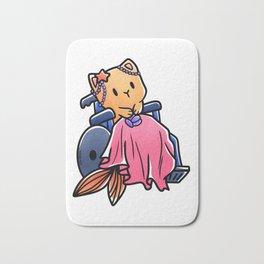 Cat wheelchair mermaid girl gift Bath Mat