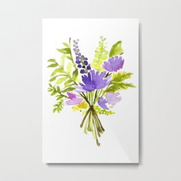 Muscari, Star Of Bethlehem, Gonvallaria Majalis, Sword Fern Floral Watercolor Painting by Tzechee Metal Print