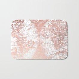 Rose Gold Pink Antique World Map by Nature Magick Bath Mat
