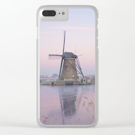 Pastel sunrise over windmills in winter in the Netherlands Clear iPhone Case