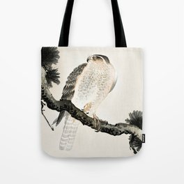 Hawk sitting on a pine tree - Vintage Japanese Woodblock Print Art Tote Bag