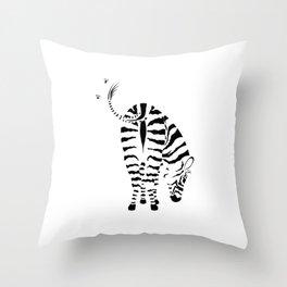 Kiss My Zebra Butt (light colours) Throw Pillow