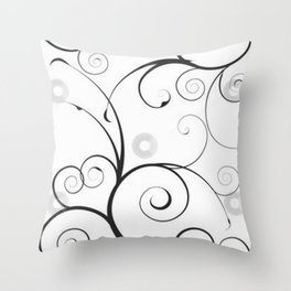 Black and Gray Swirls and Circles Throw Pillow