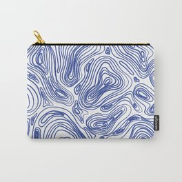 Topographical Lines in Blue Carry-All Pouch