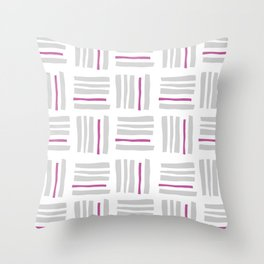 Stripes×Checkered Pattern_White&Pink Throw Pillow
