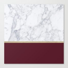 MARBLE GOLD WINE RED Canvas Print