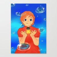 ponyo Canvas Prints featuring Ponyo by Hetty's Art