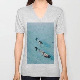 swimming in ocean Unisex V-Neck