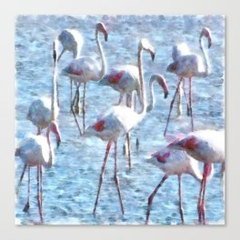 Stand Out In the Crowd Flamingo Watercolor Canvas Print