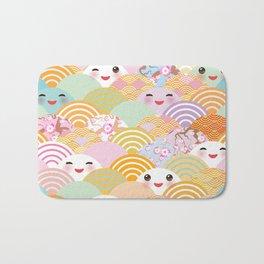 seamless pattern Kawaii with pink cheeks and winking eyes with japanese sakura flower Bath Mat