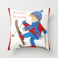 ski Throw Pillows featuring Ski Boy by iCraftCafé