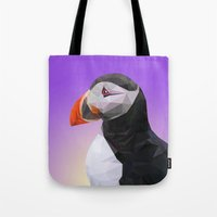 puffin Tote Bags featuring Puffin by Superieur Graphique