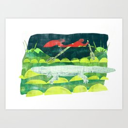 Alligator Blanc Art Print