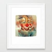 clown Framed Art Prints featuring clown by robotrake