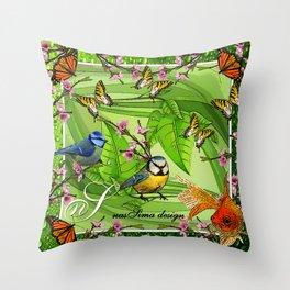 Birdy & Fishy spring green Throw Pillow