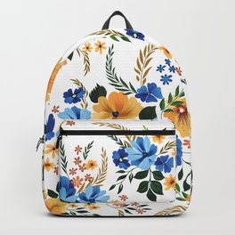 Blue and yellow flowers pattern Backpack