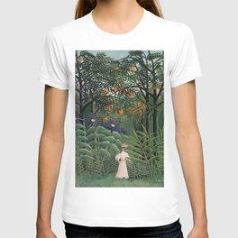 Woman Walking in an Exotic Forest (Femme se promenant dans une forêt exotique) (1905) by Henri Rouss T-shirt