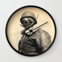 general Wall Clocks featuring General Sloth by Bakus