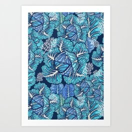 blue winter cabbage Art Print