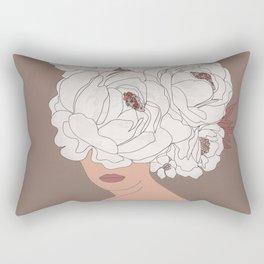 Woman with Peonies Rectangular Pillow