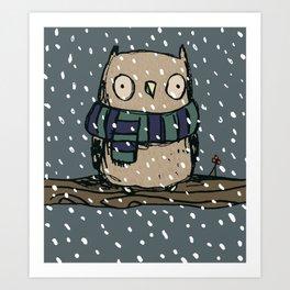 Chilly Owl Art Print