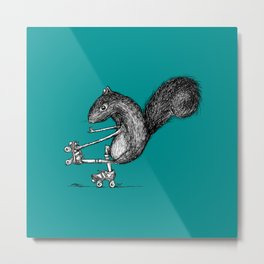 Ride On Squirrel_teal Metal Print