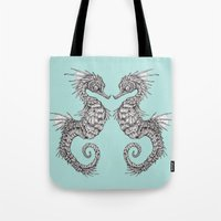 seahorse Tote Bags featuring seahorse by Caitlin Hackett