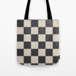 Traditional Checkerboard, Ecru-Beige and Chocolate-Deep Brown Tote Bag