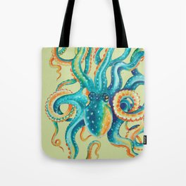 Octopus Teal Tentacles On Yellow Green Tote Bag