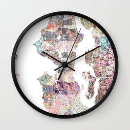 Seattle map Wall Clock