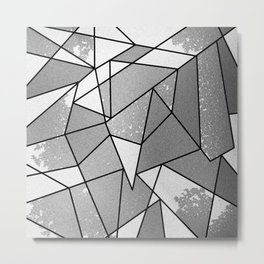Cool Modern Black Gray Distressed Geometric Pattern Metal Print