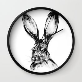 Rabbit Painting | Dry Brush | Animal Art | Animals Wall Art | Nature | Animal Forest Wall Clock